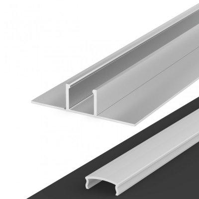 Profil LED Wpuszczany P17-1 anodowany z kloszem mlecznym 2m