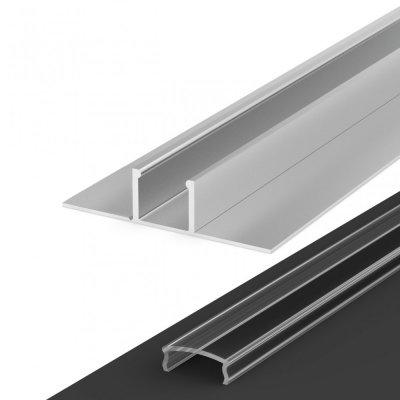 Profil LED Wpuszczany P17-1 anodowany z kloszem transparentnym 1m