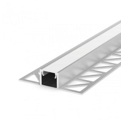 Profil LED Wpuszczany P17-2 perforowany anodowany z kloszem mlecznym 2m