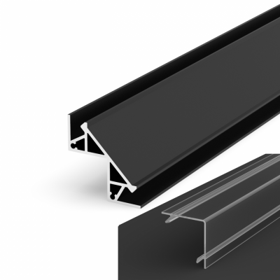 Profil LED Kątowy P12-1 czarny lakierowany z kloszem transparentnym 2m