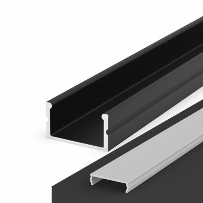 Profil LED Nawierzchniowy P13-2 czarny lakierowany z kloszem transparentnym 1m