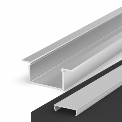 Profil LED Wpuszczany P14-2 anodowany z kloszem mlecznym 2m