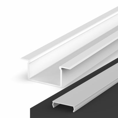 Profil LED Wpuszczany P14-2 biały lakierowany z kloszem mlecznym 2m