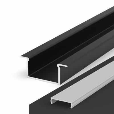 Profil LED Wpuszczany P14-2 czarny lakierowany z kloszem mlecznym 2m