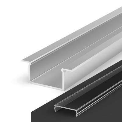 Profil LED Wpuszczany P14-2 anodowany z kloszem transparentnym 1m
