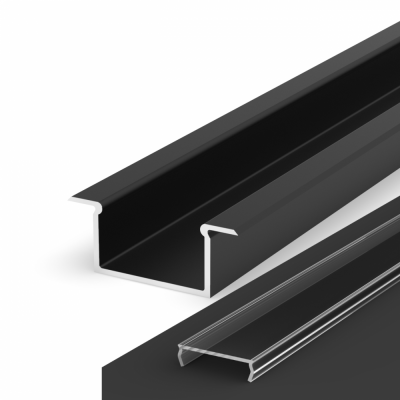 Profil LED Wpuszczany P14-2 czarny lakierowany z kloszem transparentnym 2m