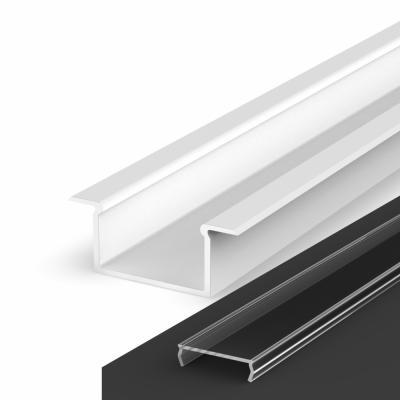 Profil LED Wpuszczany P14-2 biały lakierowany z kloszem transparentnym 2m