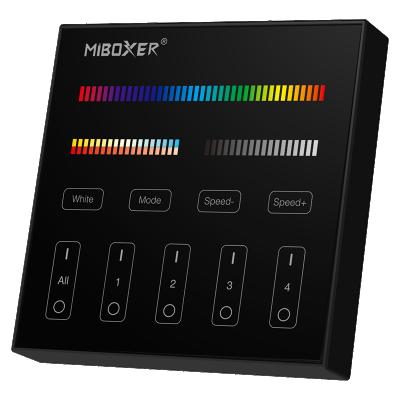 Szklany Panel Ścienny RGB+MULTIWHITE 4stref Natynkowy 2xAAA czarny