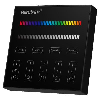 Szklany Panel Ścienny RGB/RGBW 4strefowy Natynkowy 2xAAA czarny